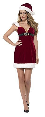 Smiffys 46750S - Damen Miss Santa Claus Kostüm, Kleid und Hut, Größe: 36-38, rot