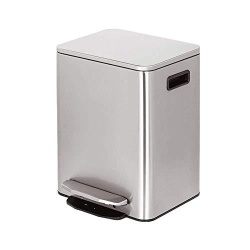 Aufsteigender Rechteckiger Abfalleimer 9L, Pedalkasten Aus Rostfreiem Stahl Für Badezimmergärten Mit Zwei Fächern (Color : Silver) - Rechteckige Stahl