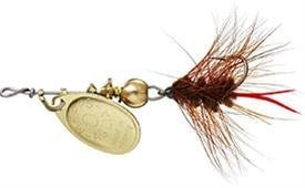 Mepps Aglia and Black Fury Spin Fly Wooly Worm Fishing Lure, 1/12-Ounce, Gold/Brown Tail by Mepp's