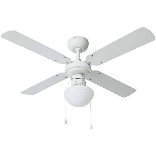 Bestron Ventilateur de plafond avec lampe, Ø 102 cm, 50 W, Blanc/Érable