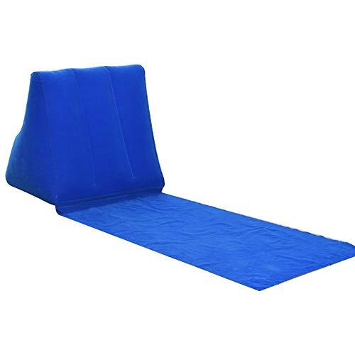 Aufblasbarer Liegestuhl mit Rückenkissen, PVC-Beflockung Sonnenliege Strandmatte Wasserdichte tragbare Reise Aufblasbare Liege für Camping Picknick(Blau)