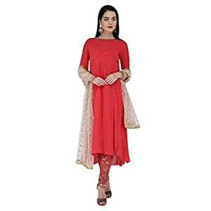 Amaira Red Embroidered Hi Low Kuta Set with hand embroidered churidar and dupatta