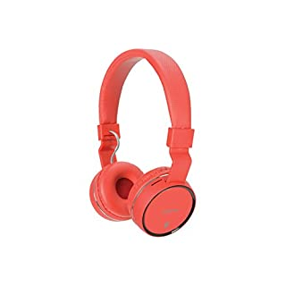 AV:Link Wireless Bluetooth® Headphones-Hands free calls, FM radio and SD card slot, Noise cancelling-Red
