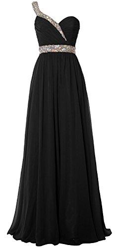 MACloth Elegant One Shoulder Long Prom Dress 2018 Chiffon Evening Formal Gown Black
