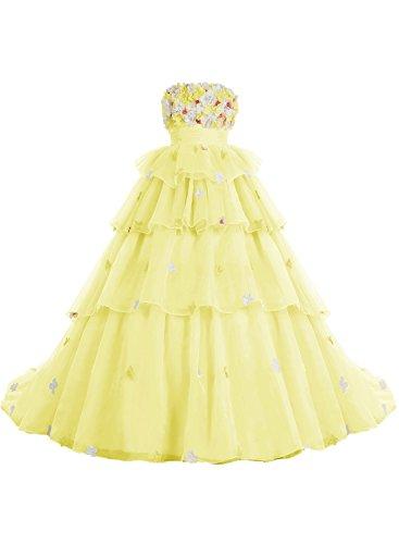 Bbonlinedress Robe de cérémonie fleurie forme marquise sans bretelles Jaune
