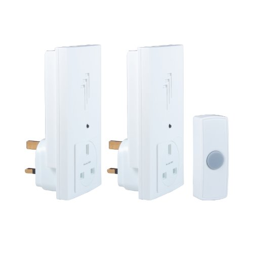 Byron DB333 30m Wireless Twin Plug-Through Door Chime Kit with 1 Sound Test