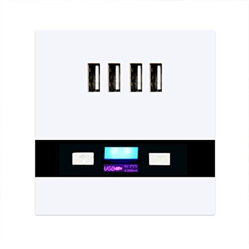 86 Typ 4 Ports USB-Wand-Schalter-Buchse Ladegerät Adapter-Platte mit LED-Licht Multifunktions-Wandsteckdose für Home Office -