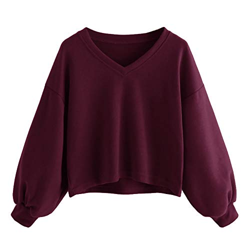Damen Sweatshirt Kapuzenpulli Top Pullover Hoodie Mode Teenager Mädchen Casual Kurz Jumper Crop Oberteil Tops Blouse. (Wein, DE-36-S)
