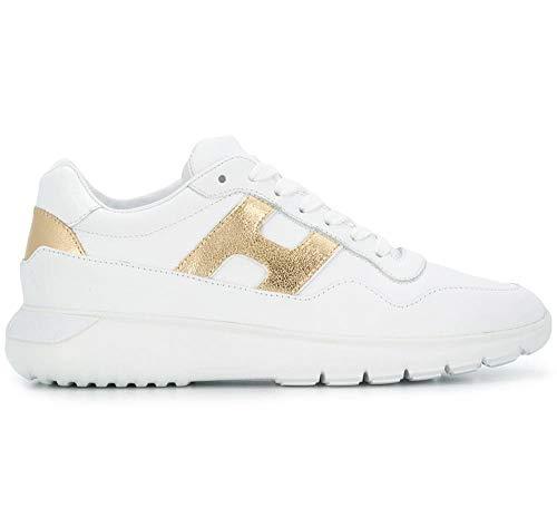 Hogan Scarpe Sneaker Donna H371 interactive3 HXW3710AP20JI80746 Bianco Oro N. 40 IT