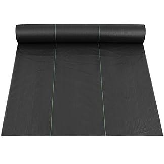 BuoQua Tela de la Barrera de la Mala Hierba Pesada de la Mala Hierba 91.4 x 1.83m Tela del Paisaje de la Barrera de la Mala Hierba Control de la Erosión del Suelo y Estabilización UV Negro