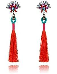 ELECTROPRIME Women Long Tassel Pendant Earrings Crystal Dangle Drop Earrings Fashion Jewelry Accessory