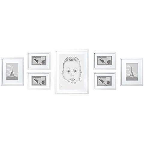 Conjunto de Marcos de Fotos de MADERA SÓLIDA – Set de 7 Marcos – Con Paspartú – Blanco - REBAJA – ¡Anchura del Marco