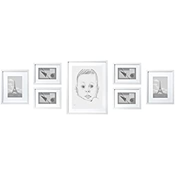 Set di Solide Cornici per Foto - Bianca - Set di 7 Cornici in Legno – Passepartout per Foto Incluso - Larghezza della Cornice 2cm
