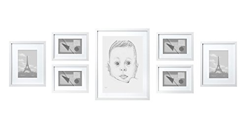 SOLID WOOD Photo Frame Set - 7 Frames - GLASS Fronts - With Picture Mounts - Frame Width 2cm - White