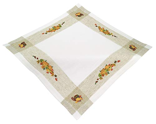 (Espamira Mitteldecke 85x85 cm Leinenoptik Herbst Kürbis Decke Kürbisdecke Table Clothes Halloween)