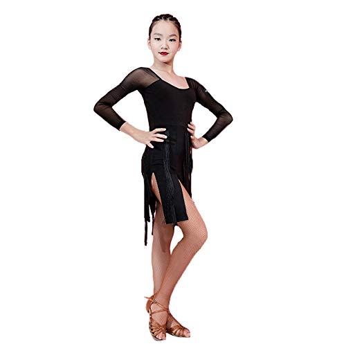 JIE. New-Latin Tanzrock weibliche Kinder Zeigen Wettkampf-Anzug Mädchen professionelle Latin Dance Kostüm,Black,M Fringe-leggings