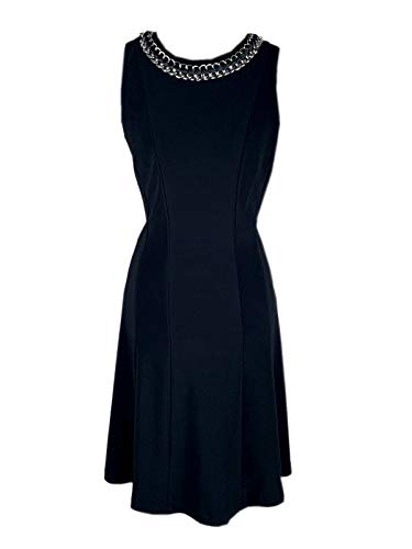 Joseph Ribkoff Black A-Line Dress with Chain & Woven Accent Style 172003