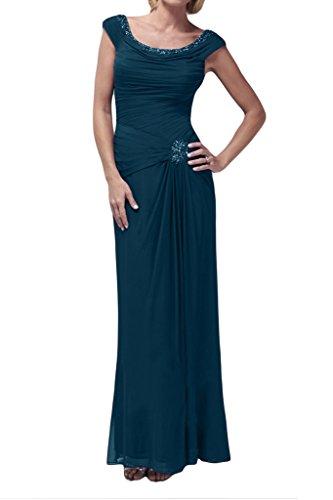 Prom Style Elegant Zwei-Traeger Chiffon Brautmutter Kleider Abendkleider Promkleider Schlauch-Linie Lang Festkleider Damen Tintenblau