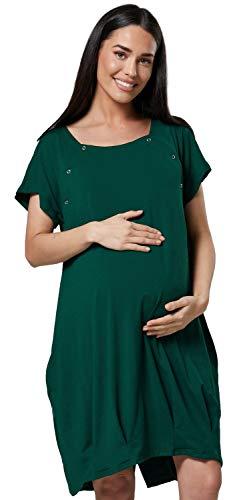 HAPPY MAMA Damen Geburtskleid Krankenhaus Umstands Nachthemd Stillfunktion. 097p (Dunkelgrün, EU 44/46, XL)