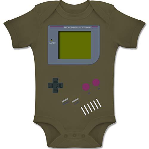 Shirtracer Strampler Motive - Gameboy - 12-18 Monate - Olivgrün - BZ10 - Baby Body Kurzarm Jungen Mädchen