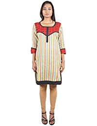Bihar Khadi Women's Cotton Straight Kurta (Multi-Colored, Medium)