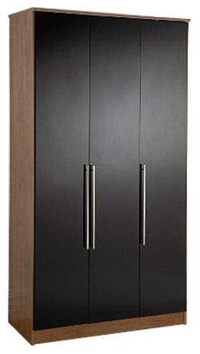 Kit-form Gloss 3-Door Wardrobe, Walnut/ Black