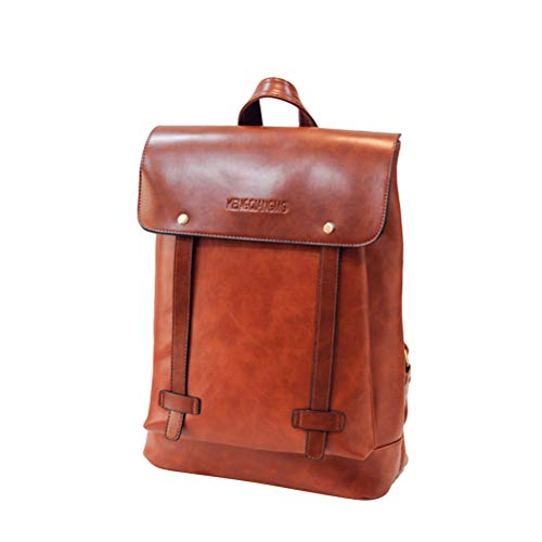 FENICAL Backpack PU Leather College School Bag Laptop Rucksack for Man Woman (Brown)
