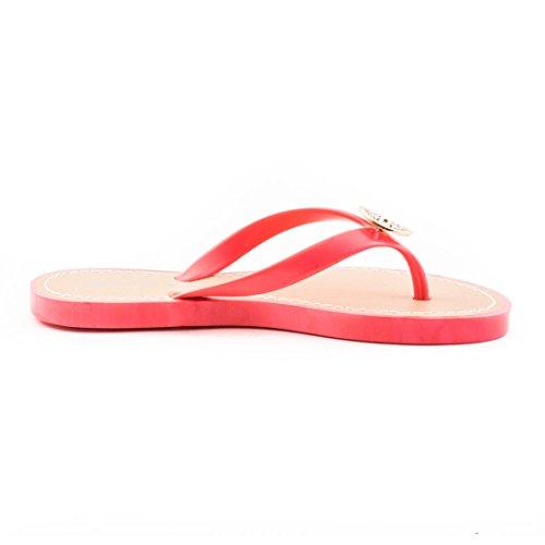 Trendige Damen Sandalen Slipper Zehentrenner Bade Schuhe mit Strass in verschiedenen Farben Coral