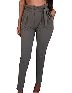Mujer Cordón Lazo Moda Pantalones de Cintura Alta Elegantes Bolsillos Pantalones de Harén Pitillo Deportivos Oficina
