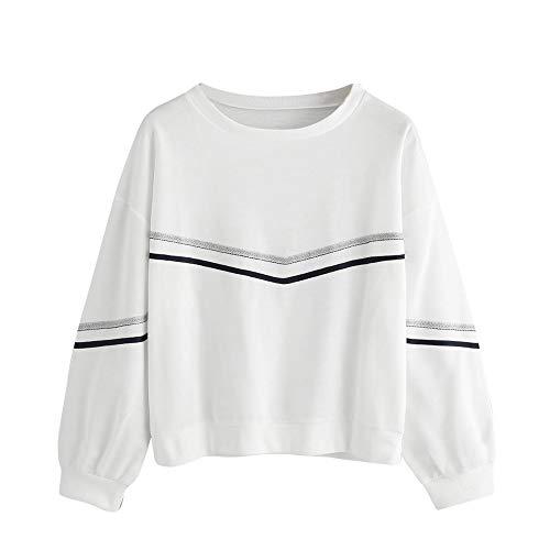 TWIFER Damen Sweatshirt Langarm Streifen Tape Drop Schulter Sweatshirt O-Ausschnitt Pullover -