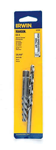 IRWIN HANSON EX-5 Spiral Extractor and 19/64 Drill Bit Set, 53705 by Irwin Tools -