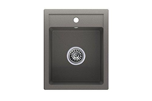 Granitspüle grau, 1-Becken, Siphon, Spülbecken, Küchenspüle, Schrankbreite ab 40 cm