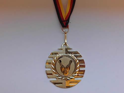 10 x Medaillen aus Metall 50mm - mit Einem Emblem Bowling - Bowlen Logo - inkl. Medaillen Band - Farbe: Gold - (e237)