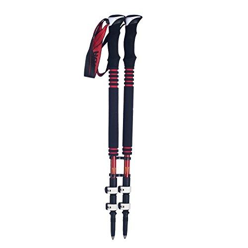 FDHLTR Ultraleichtes Im Freien des Carbonschlossbergsteigenskipfostens Im Freien Mit Stocktasche Trekkingstock- (Color : Red)