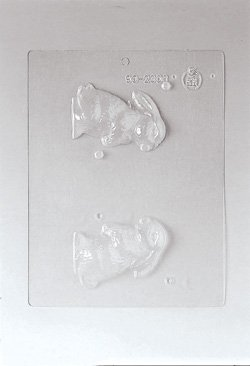 Paderno World Cuisine Single (Paderno World Cuisine Single Imprint Polypropylene 3.375 Inch Crouching Bunny Chocolate Mold (Front and Back))