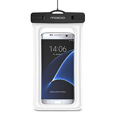 MoKo Custodia Impermeabile per iPhone 11/11 PRO/X/XS/XR/XS Max / 8 Plus, Samsung Note 10 / S10 Plus, Pixel 4 XL, Huawei P30 e Tanti Altri Cellulari- IPX8 Certificato, Bainco
