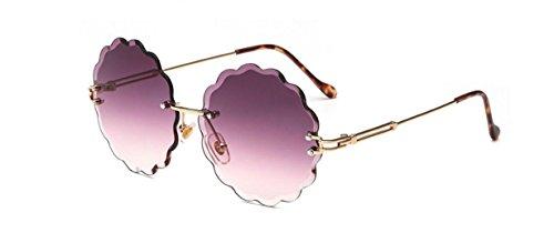 Fishroll Blume Form Randlos Diamant Schneiden Objektiv Shaded Gradient Sonnenbrille Metall Rahmen Brillen UV400, rot, 12.7x13.7x5.7cm