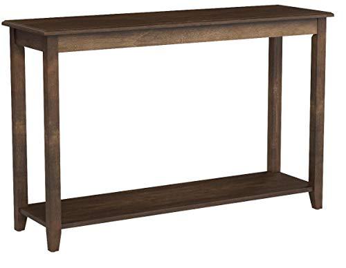 VASAGLE Konsolentisch, großer Flurtisch, Beine aus Massivholz, Beistelltisch mit Ablage, Vintage, Sofatisch, für Flur, Wohnzimmer, dunkel nussbaumfarben LCT06CB