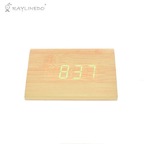 raylinedo® Neuesten Design Fashion USB/AAA Holz LED Licht Holz Digital Wecker–Zeit Temperatur Datum Display–Stimme und Touch aktiviert, holz, Bamboo Wood Green Word, 12cm*8cm*7cm (Tippen Led-licht)