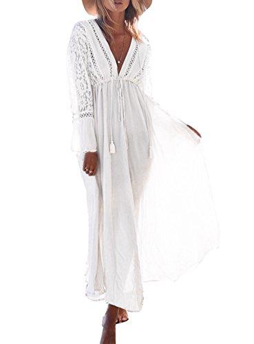 ASSKDAN Damen Spitze Strandkleid Lang V-Ausschnitte Langarm Hohe Taille Sommerkleid Mit Gürtel (Weiß, One Size)