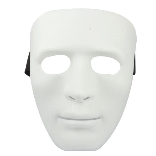 Man Adjustable Black Elastic Band Full Face Plastic Halloween Party Mask White (máscara/careta)