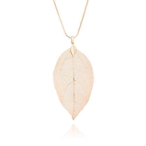 Selia Feder Kette lang Feather Halskette Blatt minimal handgemacht (Rosegold)