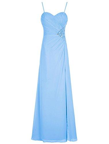 Bbonlinedress Robe de cérémonie Robe de demoiselle d'honneur col en cœur bretelles spaghetti longueur ras du sol Bleu