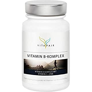 Vitamin B Komplex | Alle 8 B-Vitamine mit Vitamin C + Zink | 180 Kapseln | Hochdosierte bio-aktive Formen* | Vegan | Ohne Magnesiumstearat | Made in Germany