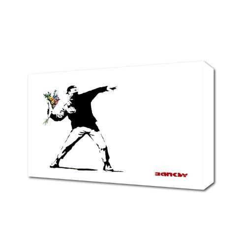 Banksy Hooligan Werfen Blumen weiß Leinwand Kunstdruck auf Leinwand fertig zum aufhängen Banksy, 2.Black and White, 12 inch x 8 inch