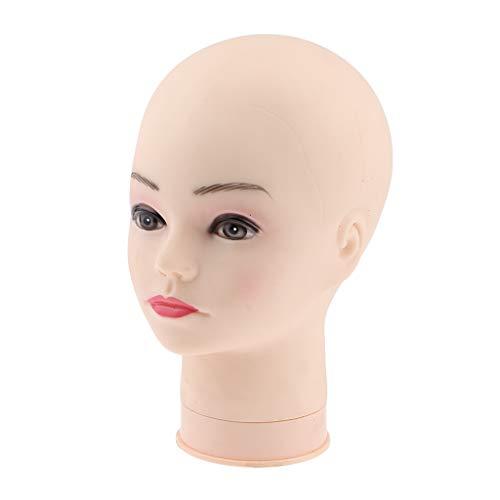 Homyl Tête de Mannequin en PVC Souple Femelle Tête Modèle Mannequin Perruque Lunettes Chapeau Affichage Stand Fabrication de Perruques - #1