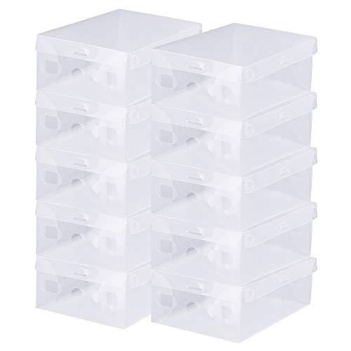 BUZIFU 20pcs Cajas para Zapatos Transparente Plástico Apilable con Agujero para La Ventilación, Hasta La Talla 42, Ideal para Guardar Calzado de Muchos Tipos, Zapatillas, Tacones, Botas Cortas