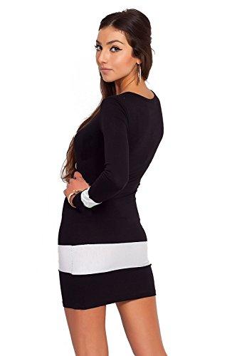 Futuro Fashion Sexy Pour Femmes Decolleté Mini Robe Moulant avec boutons Coton 8078 Noir