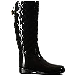 Hunter Woman Original Refined Gloss Quilt Tall Black WFT1031RGL BLK, botas de agua color negro, 36