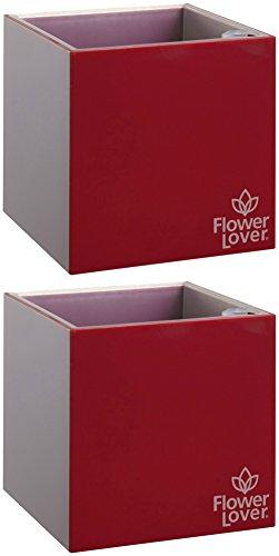 2er Pack Flower Lover Cubico Innen-Blumen Übertopf bewässernden Selbstwässernder mit Wasser Füllstandsanzeige (9x 9x 9cm)–Elegante Rot